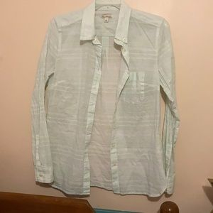 Gap mint and white striped blouse